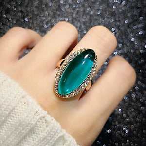 Free Gift Only Pay Shipping $12.99 Worldwide Shipping _    Rose Gold Color Green Austrian Crystal CZ Rings Oval  for Women Gift Finger Party Rings Gift