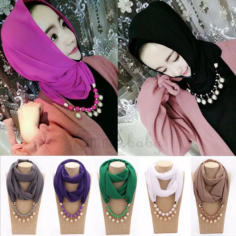 FREE Gift Only Pay Shipping $12.99 Worldwide Shipping _  Women Casual Fashion Solid Plain Pearl Chiffon Hijab Scarf Large Maxi Headscarf Womens Ladies