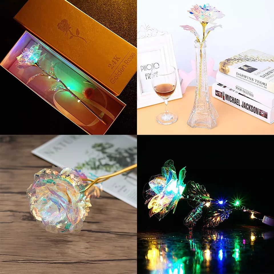 Valentine's Day Gift Romantic Colorful Rose Colorful Light Luminous Rose Artificial LED Light Flower Unique Gifts