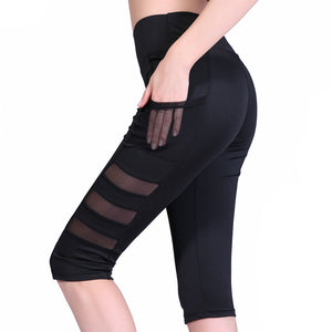 FREE SHIPPING _  Women Quick Dry High Waist Elastic Pants Patchwork Mesh Pocket Cropped Trousers Sexy Fitness Sports Leisure Leggings