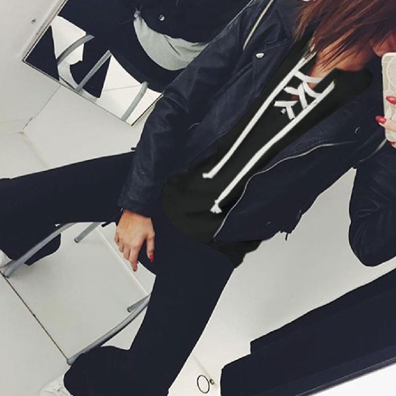 Spring Autumn Winter Pullover Sweatshirt Fashion Bandage Hoodies Women Casual Loose Pink/Gray/Black