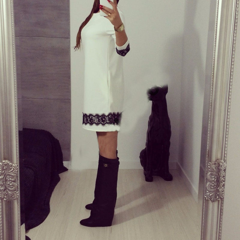 New Women White Lace Elegant Dress Summer Party Dress High Quality Women Long Sleeve Casual Dresses
