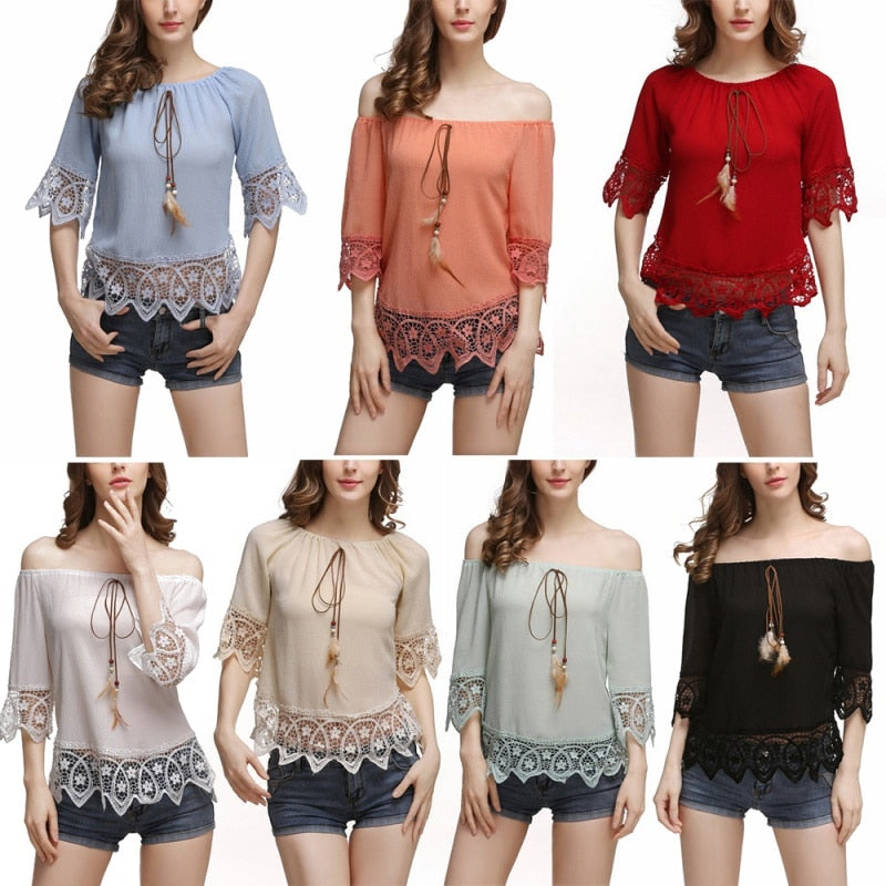 FREE GIVEAWAYS ONLY PAY FOR SHIPPING $10.99 _ Summer Beach Vintage BoHo Women Elegance Slash Neck Off Shoulder Fashion Short Sleeve Soft Chiffon Lace Blouse Tops