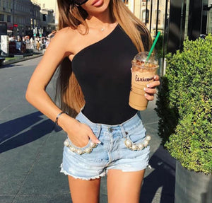 Sexy Bodysuit Women Slim Long Sleeve Bodycon Bodysuits One Shoulder Jumpsuit Short Romper Black Leotard Tops Triangle Trousers