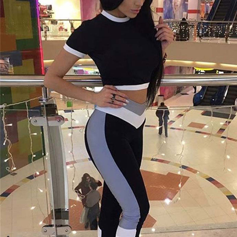 FREE SHIPPING _ Sexy Two Piece Sport Suit Women Yoga Set Short Sleeve Crop Top and Leggings Sexy Yoga Wear Fitness Track Suit Sportswear