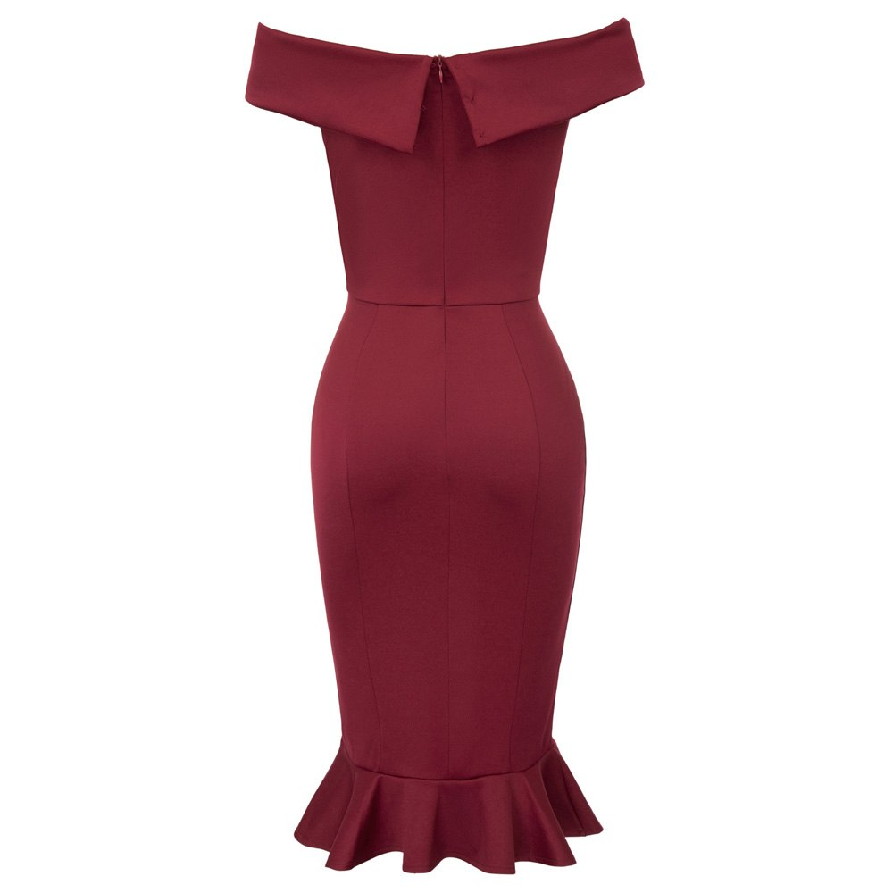 FREE SHIPPING _ Sexy Women Off Shoulder Hips-wrapped Mermaid Bodycon Pencil Dress Clubwear