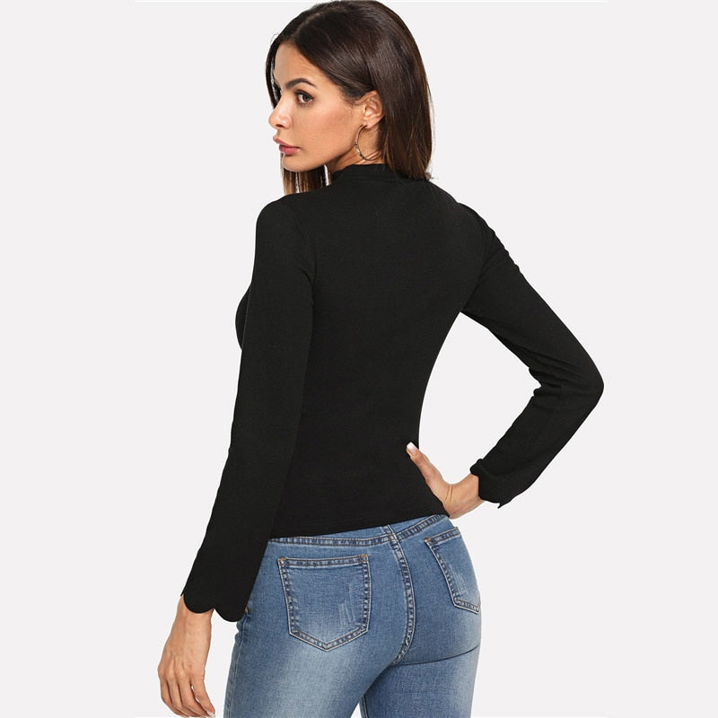 Black Workwear Elegant Scallop Trim Solid V Neck Long Sleeve Skinny Tee 2018 New Autumn Minimalist Women T shirt And Top