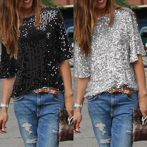 FREE SHIPPING _ Fashion Women Summer Loose Top Half Sleeve Sparkle Glitter Blouse Ladies Casual Loose Sequined Pullover Tops Blouse Black Sliver
