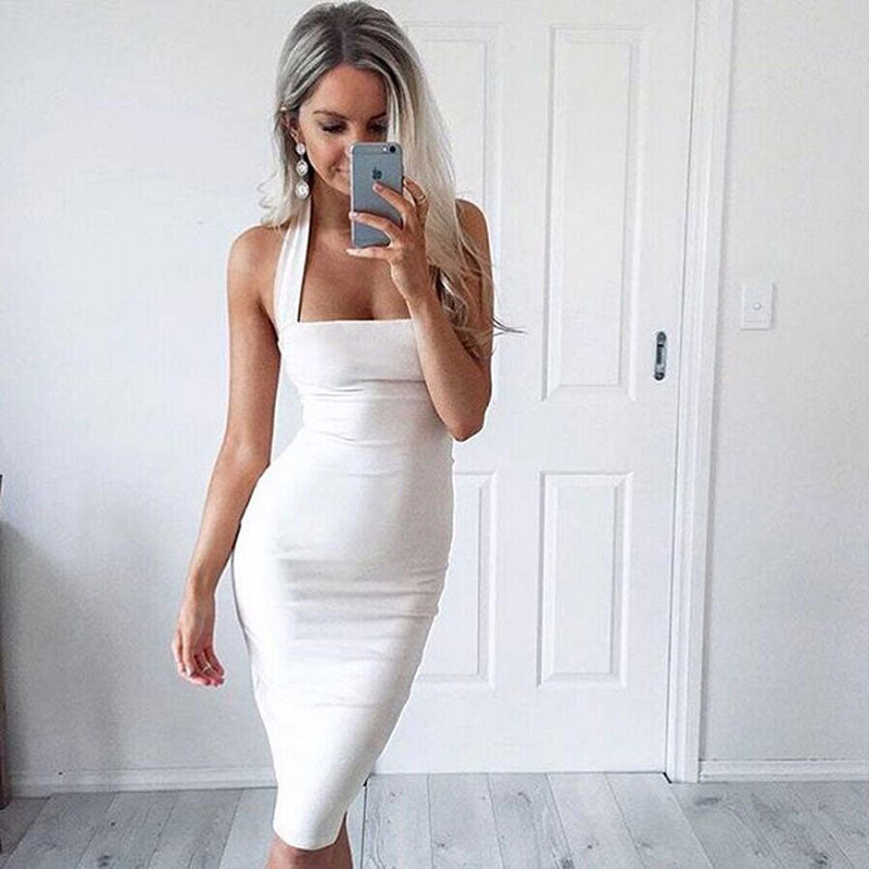 FREE SHIPPING _ Women Skinny Halter Summer Party Dress Size 6-14 Women Ladies Bodycon Dresses Pencil Sleeveless
