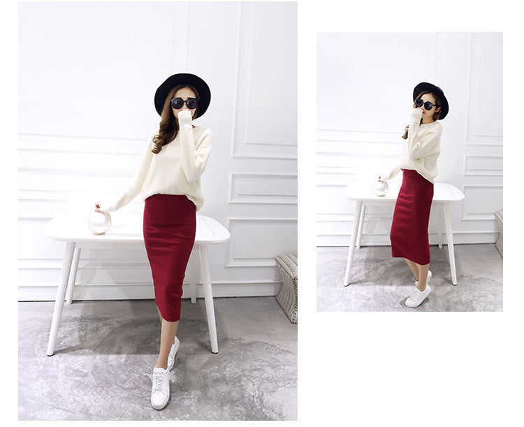 Summer skirts Sexy Chic Pencil Skirts Women Skirt Wool Rib Knit Long Skirt Package Hip Split Waist midi skirt maxi