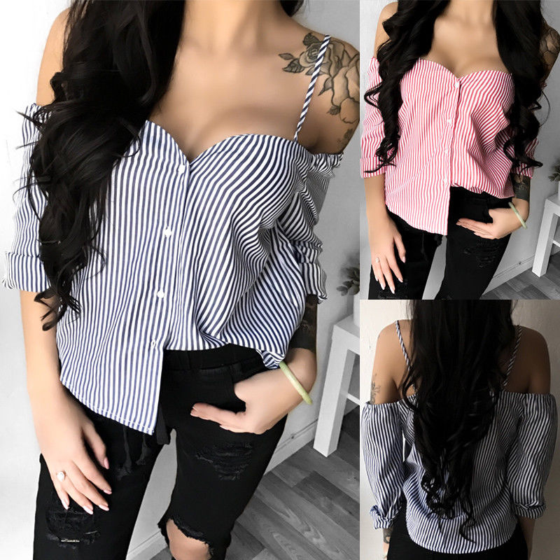 FREE GIVEAWAYS ONLY PAY FOR SHIPPING $10.99 _ Stylish Ladies Womens Casual Off Shoulder Long Sleeve Blouse Top Striped Loose Tops Summer Clothes