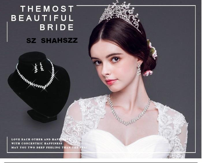 FREE SHIPPING _Wedding Jewelry Crystal Bridal Gifts Choker Necklace Earrings Set Wedding Jewelry Sets Brides Hot Selling Wedding Jewelry Sets