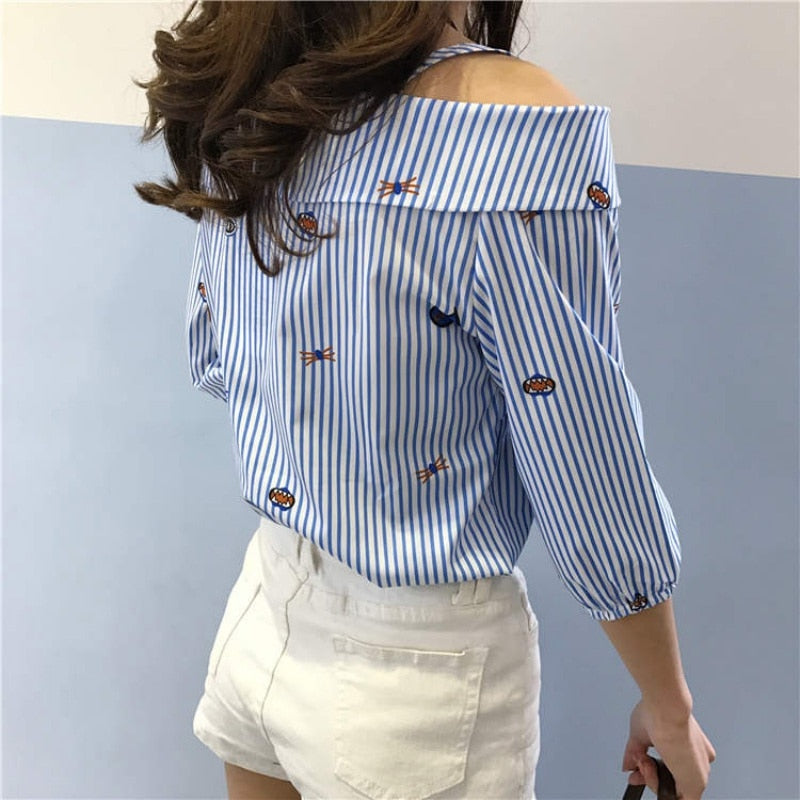 FREE GIVEAWAYS ONLY PAY FOR SHIPPING $10.99 _ Spring fashion print embroidered shoulder slash neck blouse new blouse new word spread word long-sleeved shirt striped