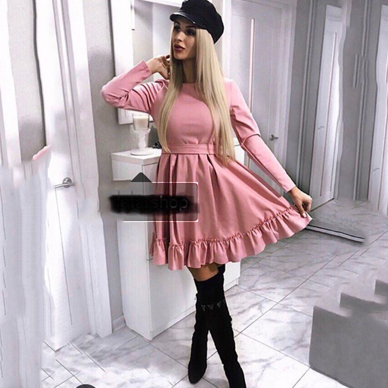 2019 New Women Casual belt Bandage Party Mini Dress Long Sleeve O-neck Solid A-line Dress Winter New Fashion Women Vintage Dress