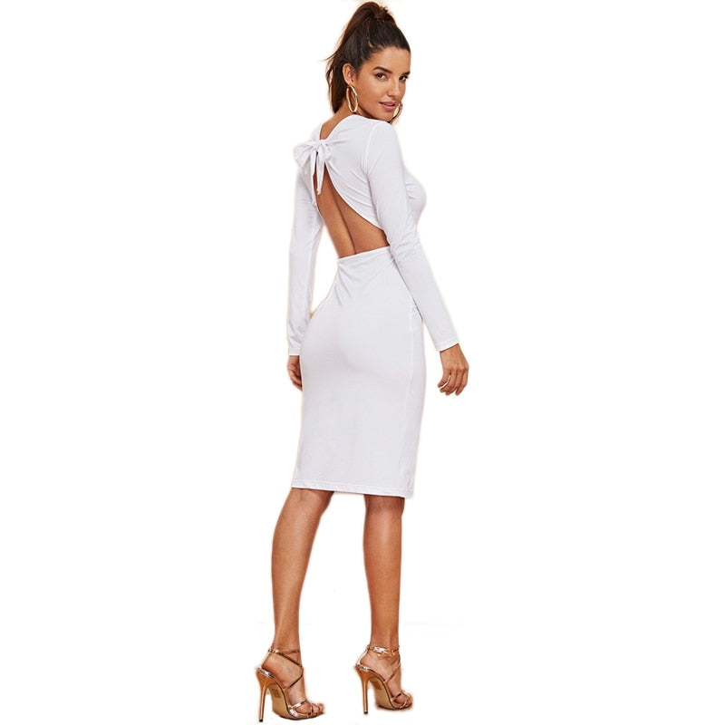 FREE SHIPPING _ White Backless Knot Bodycon Solid Dress Sexy Knee Length Long Sleeve Sheath Dresses Women Autumn Plain Party Dress