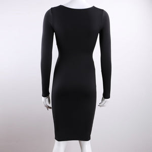 Red Black White Long Sleeve Elastic Cotton Warm Party Dresses Vestidos Sexy Midi Pencil Club Bodycon Bandage Dress