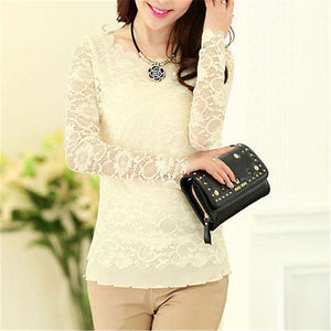 FREE SHIPPING _ summer fashion Vintage Style Womens Elegant Crochet Openwork Lace Patchwork Blouses Crew Neck Long Sleeve Shirts