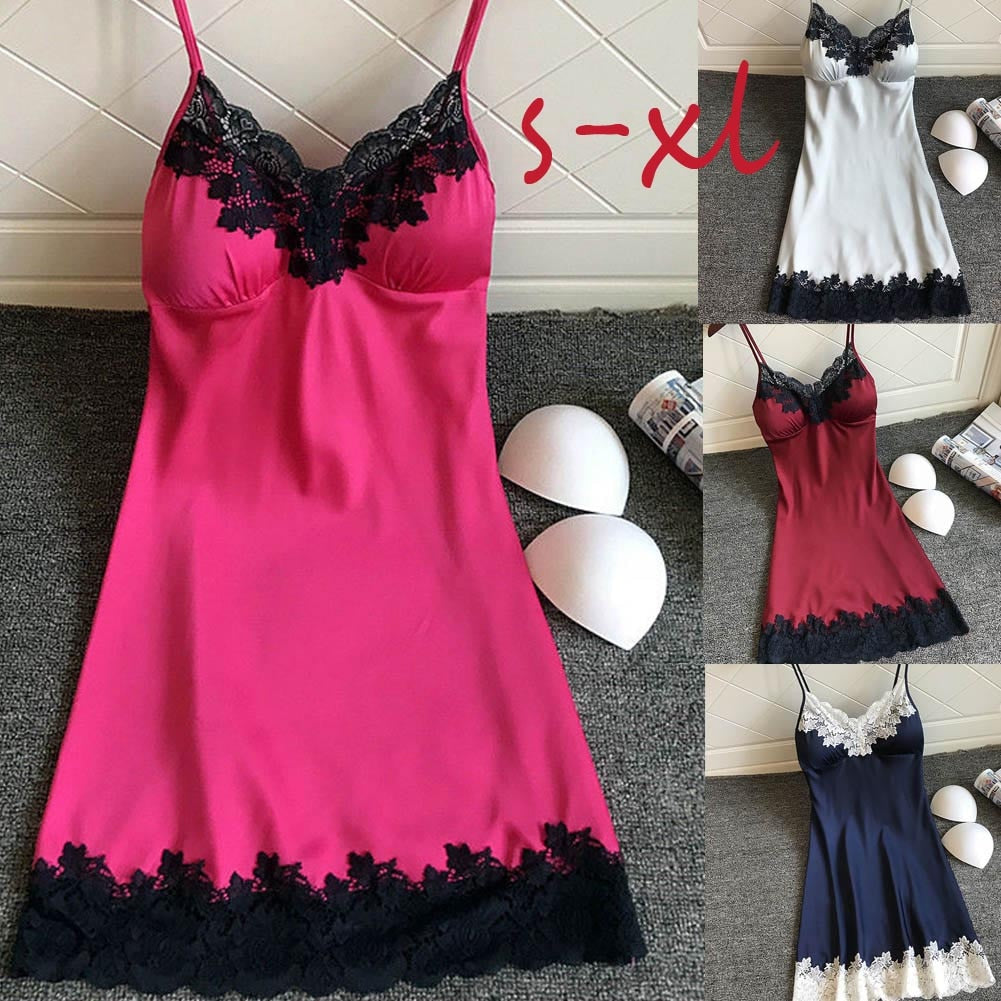 FREE SHIPPING _ sexy sleepwear satin nightgown For Women Ladies Sleeveless Nightwear nightgown Nightdress Sexy Dress with Chest Pads