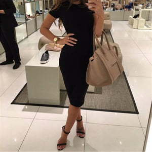 FREE SHIPPING _ Womens Dress Vestido Short Sleeve Slim Bodycon Dress Tunic Crew Neck Casual Pencil Dress