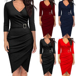 Women Casual Elegant Office Dresses Female Sexy V-Neck Knee-Length Burgundy Dress _ FREE SHIPPING WORLDWIDE