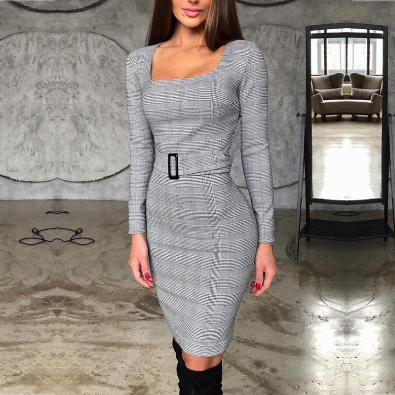 Women Square Neck Grid Belted Long Sleeve Dress Streetwear Plaid Knee-Length Elegant Slim Fit Autumn Spring Party Dress _ FREE SHIPPING WORLDWIDE