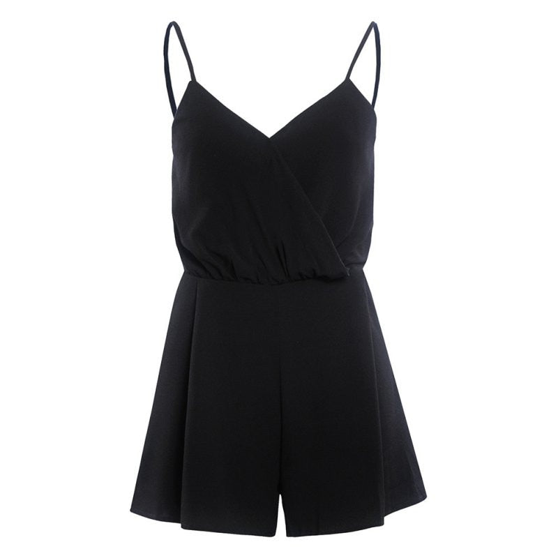 Retail Summer Women V-Neck Rompers Sexy Club Solid Elegant Bodycon Jumpsuit Playsuit Romper