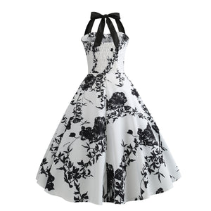 FREE SHIPPING _ Summer Dress 2019 Casual Floral 50s 60s Retro Vintage Dress Women Robe Rockabilly Swing Pinup Vestido Sexy Elegant Party Dresses
