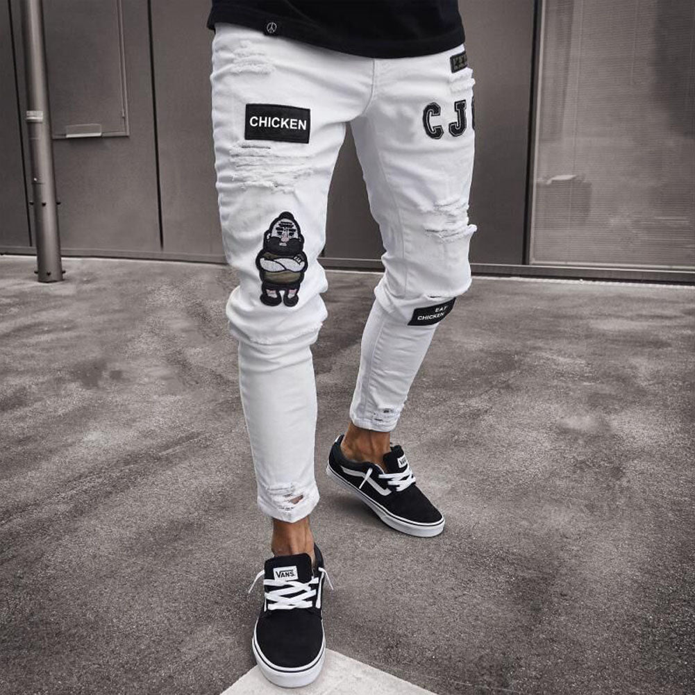 FREE SHIPPING _ Men's Fashion Vintage Ripped Jeans Super Skinny Slim Fit Zipper Denim Pant Destroyed Frayed Trousers Cartoon Gothic Style Pants