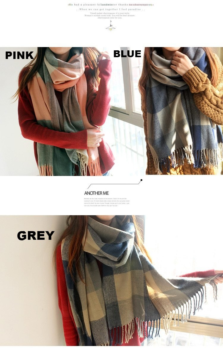 Autumn Winter Female Wool Scarf Women Cashmere Scarves Wide Lattices Long Shawl Wrap Blanket Warm