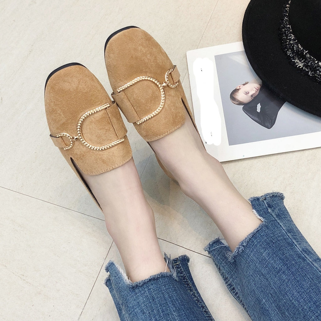 2019 Women's Pumps New Fashion Spring Summer Shoes Leisure Lady Square Heel Shallow Low-Heeled Lady Party Pump Hot Loafers