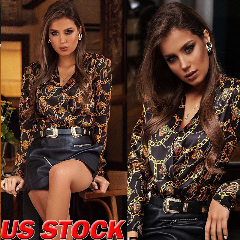 Fashion Casual Womens Ladies Long Sleeve Blouse Button Tops V Neck OL Office Work Shirts Winter Spring Clothes
