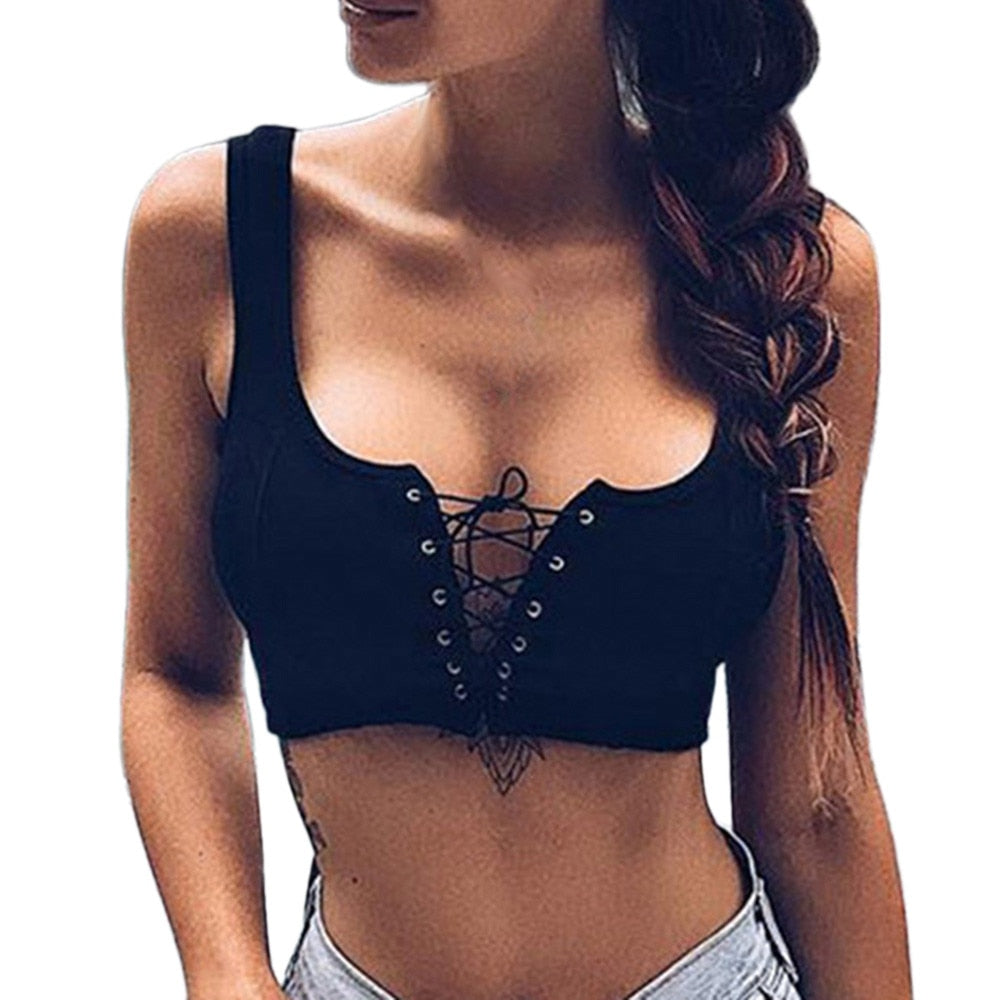 FREE GIVEAWAYS GIFTS ONLY PAY FOR SHIPPING $10.99 _ Black Women's Sexy Strapless Solid Bandage Cross Up Hollow out Sleeveless Short Tops cropped