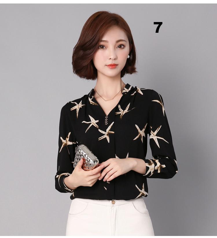 FREE SHIPPING _ Women Chiffon Blouse Shirt 2019 Female Clothing Long Sleeve Blusas Chiffon Women's Office Blouses Print Striped Dot Lady OL Top