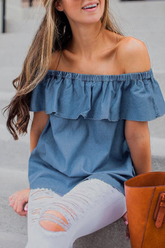 FREE GIVEAWAYS ONLY PAY FOR SHIPPING $10.99 _ New Fashion Women Vintage Off Shoulder Tops T-Shirts Summer Casual Cotton Denim Short Sleeve Clothes