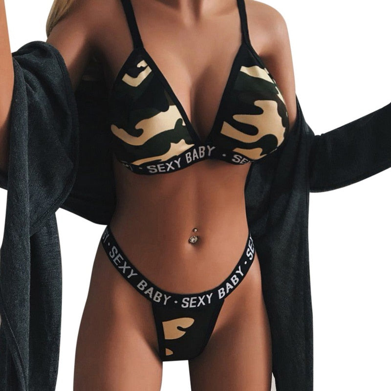FREE GIVEAWAYS ONLY PAY SHIPPING $10.99  _ 2019 New Women Sexy Sport Bra Sets Camouflage Letter Print Lingerie Set Push Up Seamless Corset Bralette Summer Thong Bikini Set