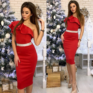 FREE SHIPPING _ One Shoulder Slope Sleeveless High Waist Bodycon Dresses 2019 New Arrival Women Patchwork Ruffle Sexy 4 Color Party Dress