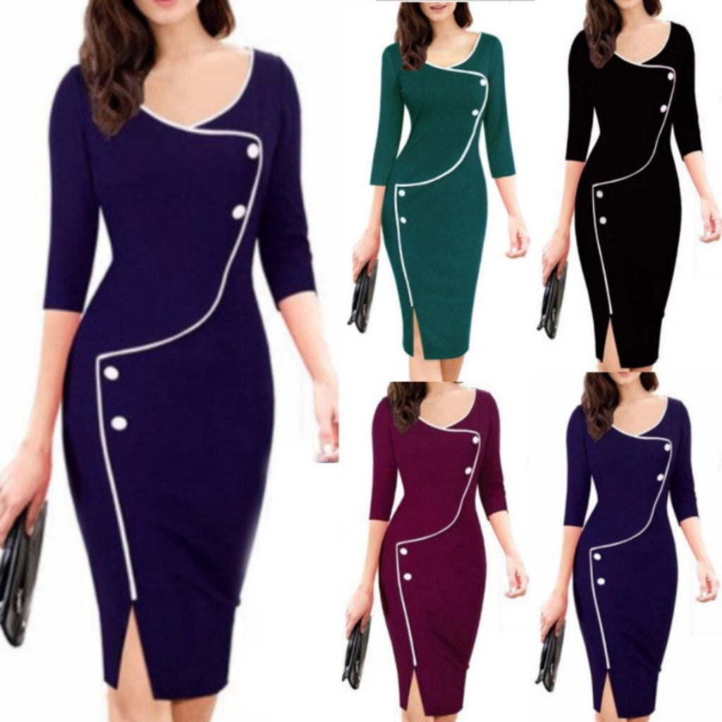 Women Autumn Winter Casual V-Neck Seven-Point Sleeve Front Fork Pencil Dress Vestidos Mujer Invierno Elegant Woman Dress _ FREE SHIPPING WORLDWIDE