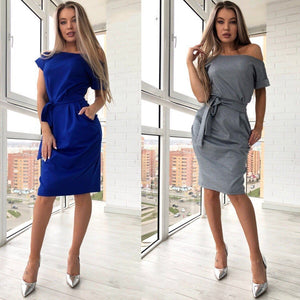 summer new fashion women straight loose dress sexy off shoulder slash neck dress casual short sleeve boho beach dresses