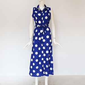FREE SHIPPING _ Summer Chiffon Dress Women Sexy Sleeveless Polka Dot Dress Elegant Turn Down Collar Office Bandage Dress Party Vestidos