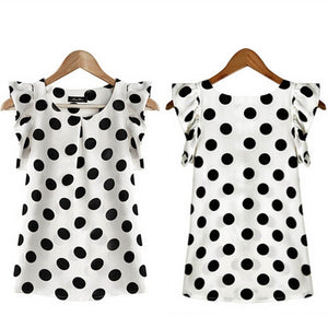 FREE GIVEAWAYS ONLY PAY FOR SHIPPING $10.99 _ Fashion Girl Dots Blouse Women Casual Chiffon Shirt Sleeveless Ruffle Sleeve Shirt Summer Tops Black White