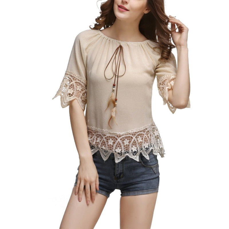 FREE SHIPPING _ Women Elegance Slash Neck Off Shoulder Fashion Short Sleeve Soft Chiffon Lace Blouse Tops