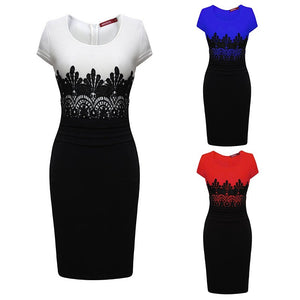 Women OL Pencil Dress Summer Sleeveless Bodycon Midi Dress Ladies Casual Slim Lace Party Dresses _ FREE SHIPPING WORLDWIDE