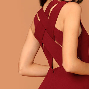 Burgundy Plunging Neck Pencil Dress Solid Sleeveless V Neck Bodycon Dress Elegant Party Autumn Modern Lady Women Dresses