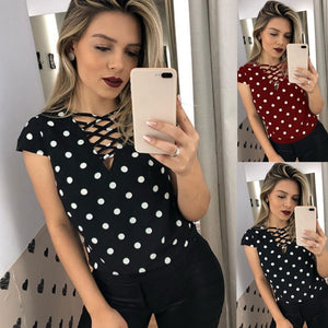 FREE SHIPPING WORLDWIDE  _ Women Blouses Tops Short Sleeve Ladies Tops Hollow Out Polka Dot Blouses Shirt Blusa Mujer Blouses Woman Tops Summer 2019 Tee