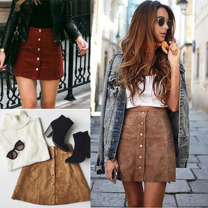 suede leather women skirt 90's Vintage short skirt Winter high waist casual skirts with button