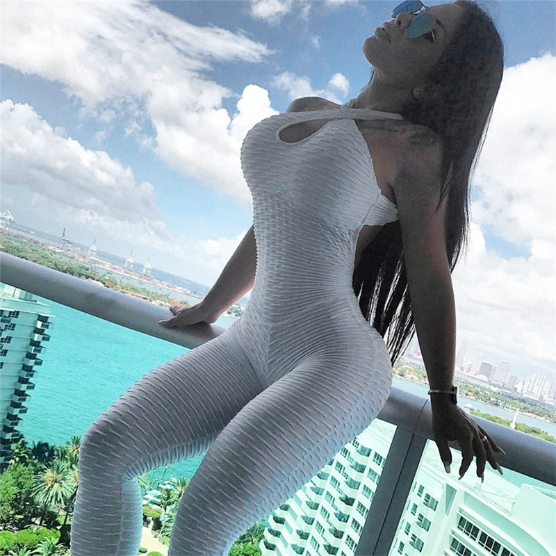 FREE SHIPPING _ White Color Hot Sale New Folding Push Up Fitness Rompers Womens Jumpsuit Backless Halter Across Playsuit Sexy Bodysuit
