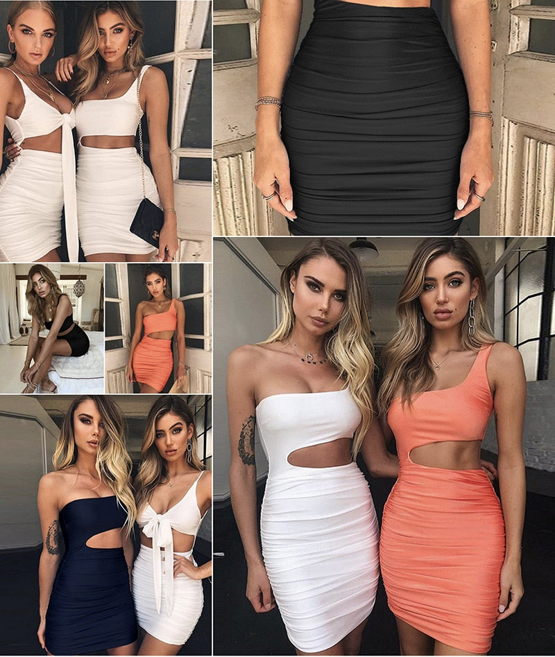 Off Shoulder Sexy Bodycon Bandage Dress Women Sexy Strapless Long Sleeve Hollow Out Party Dresses Vestidos Summer Dress