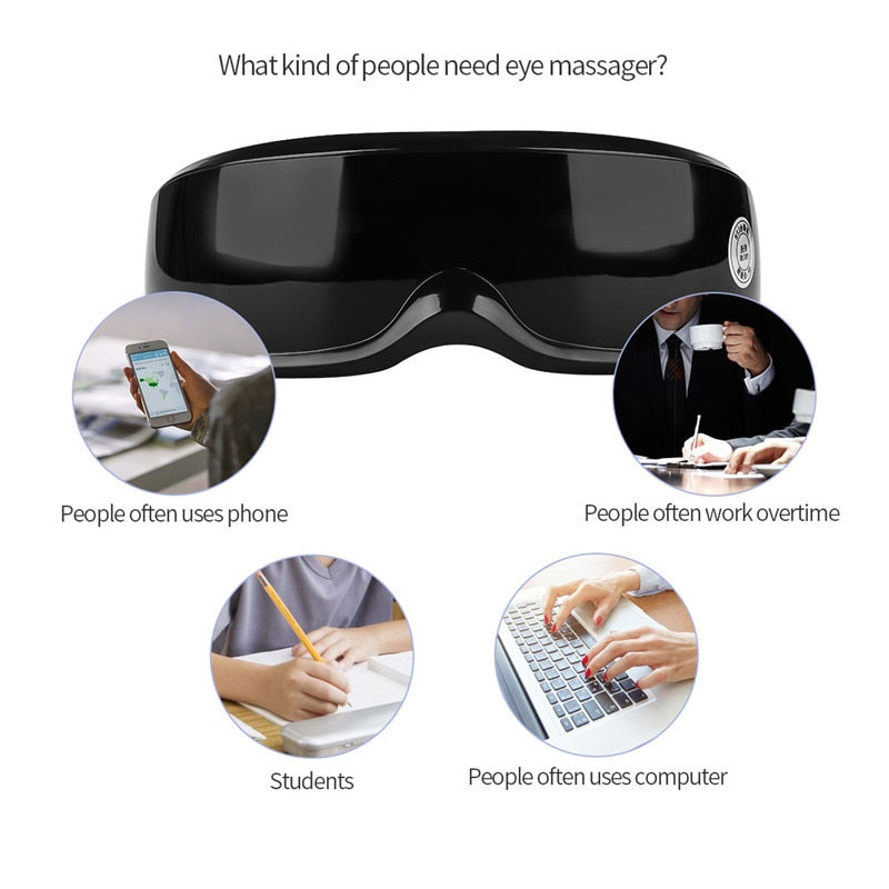 FREE SHIPPING _ Wireless Rechargeable Eye Massager Magnets Acupoints Massage Vibrate Eye Care Fatigue Stress Relief Goggles Improve Eyesight S50
