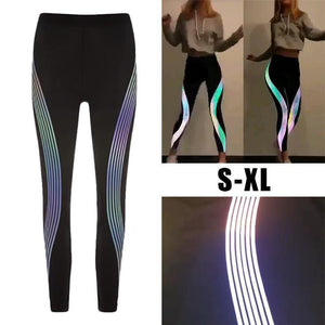 FREE SHIPPING _ hot fashion Rainbow Reflective Leggings women workout Fitness leggings ladies Pants Activewear Glow In The Dark clothes women