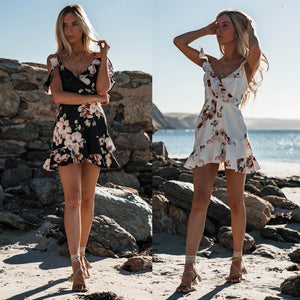 Sleeveless V-Neck Spaghetti Strap Beach Floral Ruffle Tank Mini Casual Dress Women Flying Sleeve Sundress Chiffon